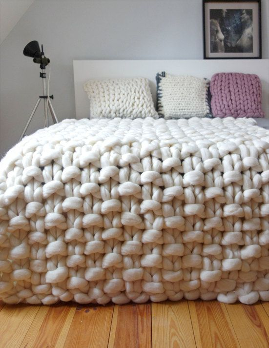 Chunky knit throw, chunky wool blanket, giant knit blanket, Chunky throw merino… Mais