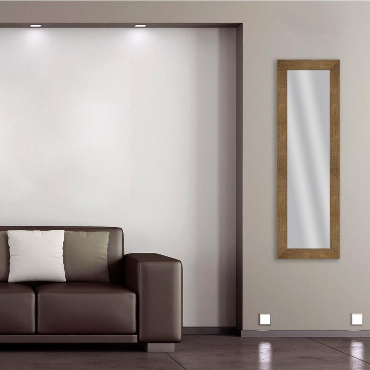 53.5 in. x 17.5 in. Natural Brown Framed Mirror