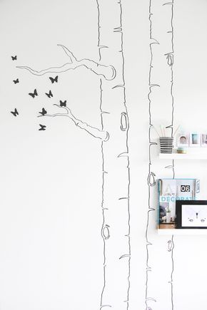 x4duros.com: DIY: Dibujar la silueta de un árbol en la pared y añadirle mariposas 3D