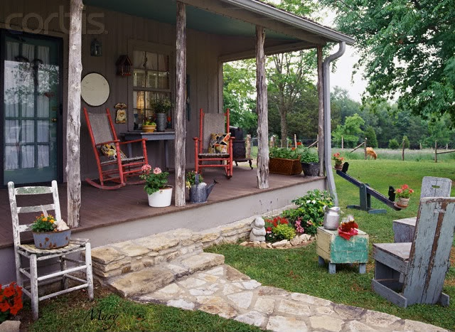 A real farmhouse porch old chairs rockers and notice the for Country porch catalog