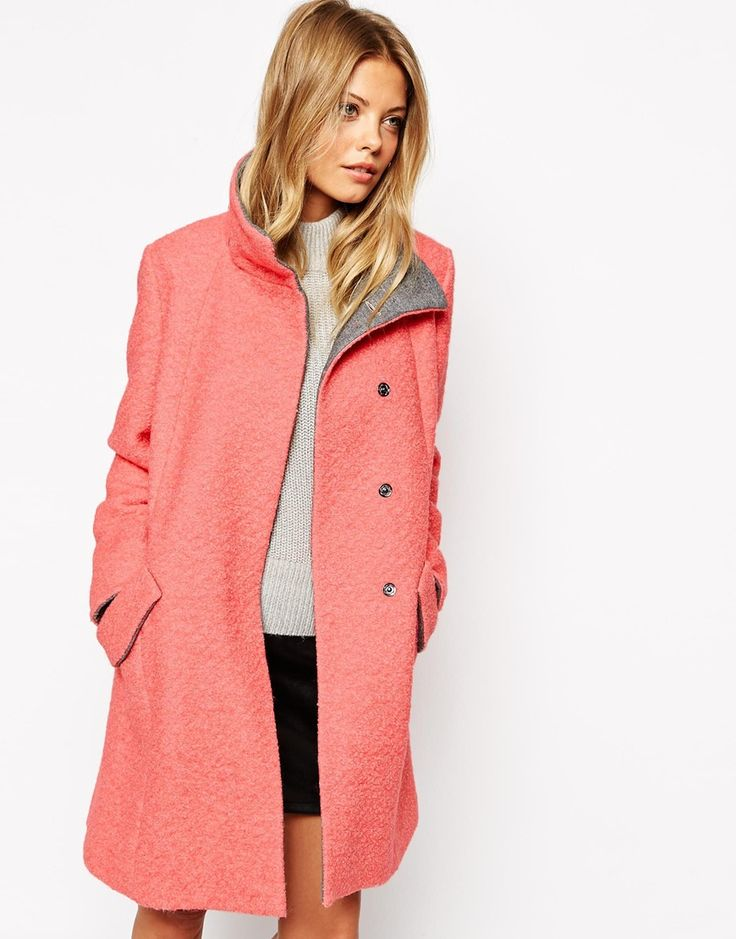 Enlarge ASOS Swing Coat With Funnel Neck In Textured Wool