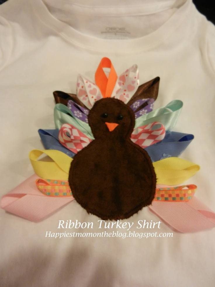 Happiest Mom on the Blog: Turkey Ribbon Shirt Tutorial