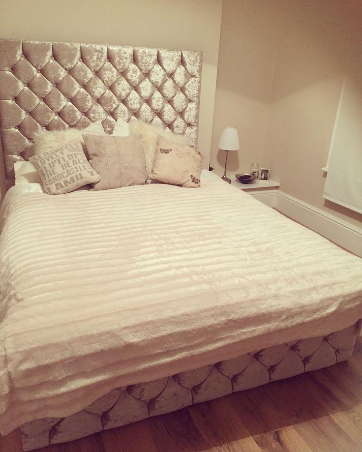 Crushed Velvet Cream Bed Bedroom Ideas Velvet Bedroom
