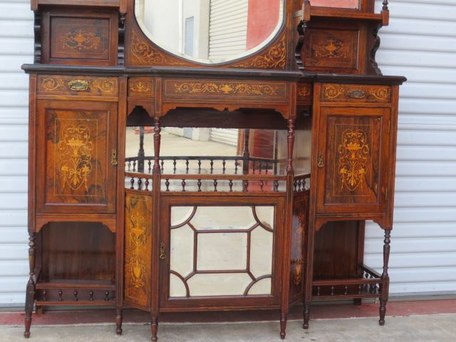 English Antique Hutch Etagere Cabinet Sideboard Antique Furniture