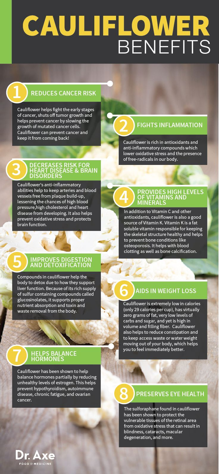 Cauliflower: Benefits, Nutrition & Recipes  http://www.draxe.com #health #natural #holistic #recipe