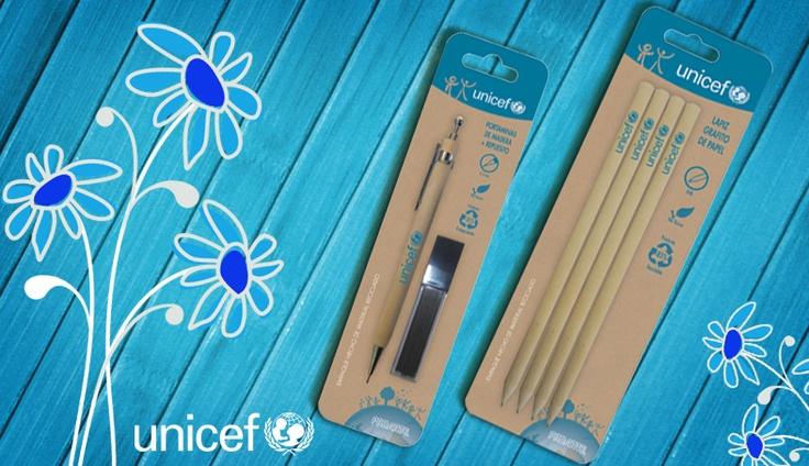 Lápices y portaminas ecológicos. Marca Proarte, línea Unicef.