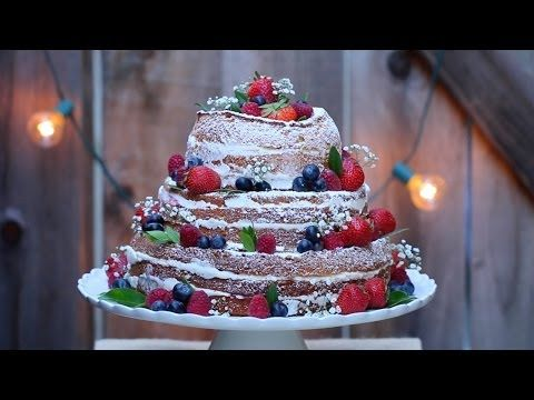 How to decorate a naked wedding cake - YouTube