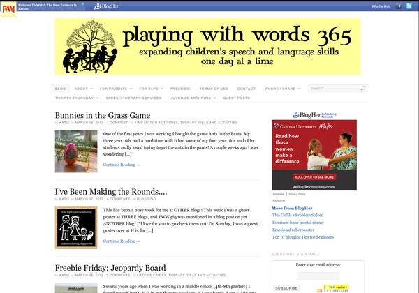 SLP: Playing with Words 365 – We discovered this blog through Pinterest. SLP blogger Katie is also certified in ABA. She has a well developed blog that, although written for parents and caregivers, is quite popular among her peers in the profession.  - Pinned by @PediaStaff – Read about all the speech blogs we recommend: http://ht.ly/9HVRX  Please Visit ht.ly/63sNt for all our pediatric therapy pins