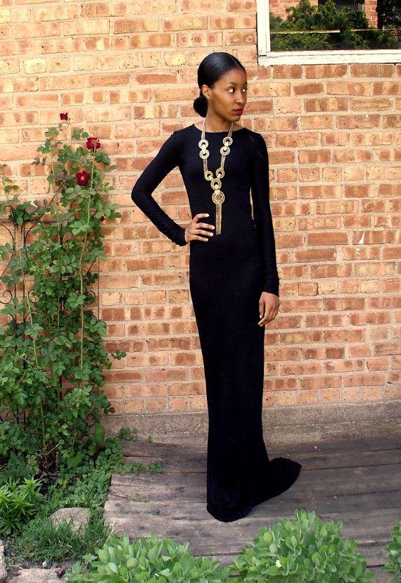 Schwarz rückenfrei voller Länge Kleid von alafemme auf Etsy