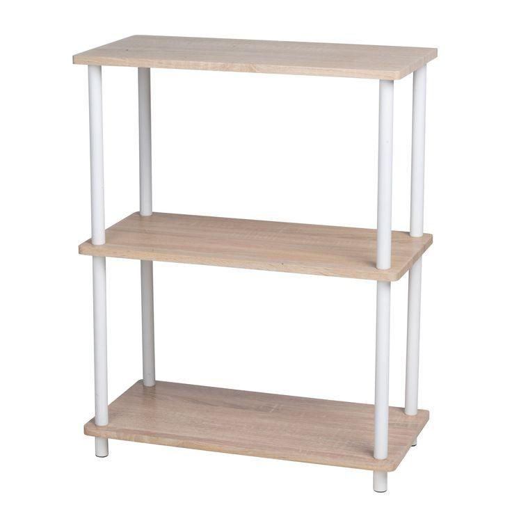 Stijlvolle open kast met een wit frame en 3 houten planken. Afmeting: 60 x 30 x 76 cm - Kast, 3-laags