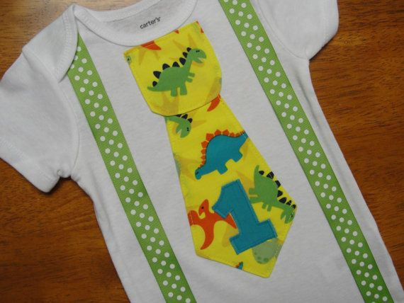 Baby Boy First Birthday Dinosaur Tie with Green by HomeArtsBoerne