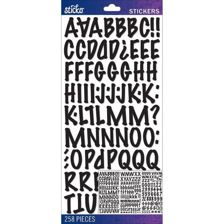 Sticko Alphabet Stickers-Black Marker Medium - black marker medium