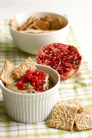 Baba Ghanouge -with pomegranate! Try it with a drizzle of pomegranate molasses from Al Wadi Al Akhdar www.alwadi.com