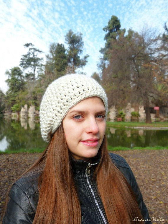 Classic beanie hat  WHITE  crochet  womens Winter by BeanieVille, $22.95