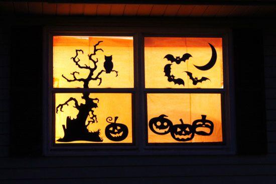 Украшение для окон на Хэллоуин своими руками