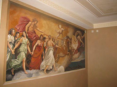 Dies Ist Eine Wandmalerei In Einem Italienischem Restaurant. Sie Ist Teil  Einer Komplexen Farbgestaltung.