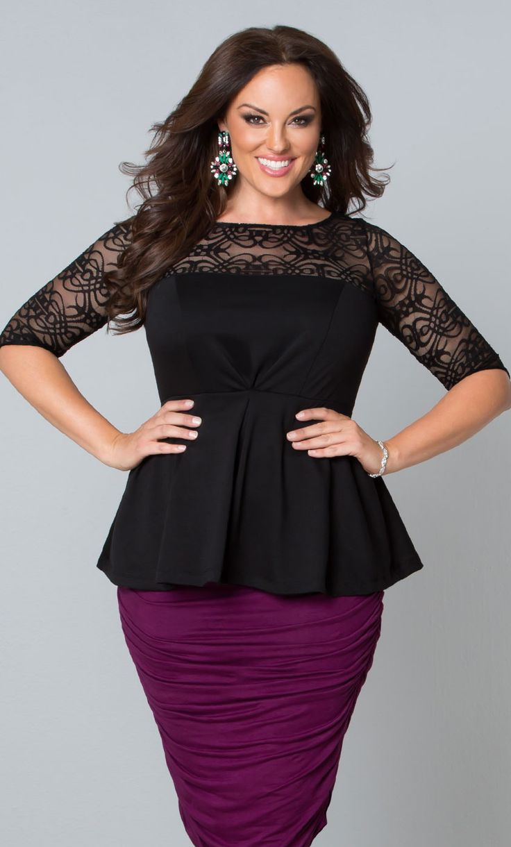 A classic style like our plus size Illusion Ponte Peplum Top gets a modern update with a unique art-deco lace.  www.kiyonna.com  #KiyonnaPlusYou  #MadeintheUSA  #PencilSkirt
