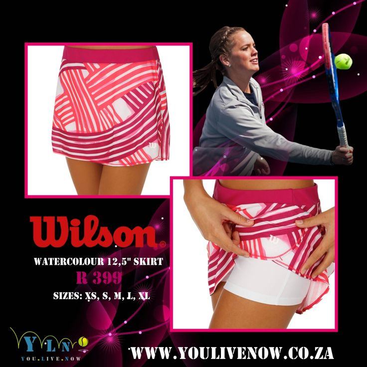 Get the win in fashion with the stylish Wilson Spring Watercolor Flare Skirt. It features an flat elastic waistband, built-in compression short with ball pockets at sides, lightweight mesh skirt with sublimated print, contrast stitching, moisture-wicking fabric, and a heat transfer Wilson logo at front left hem. http://www.youlivenow.co.za/watercolour-125-skirt #wilsonskirt #tennisskirt #wilsonwatercolour #skirtwilson #pinkwilsonskirt