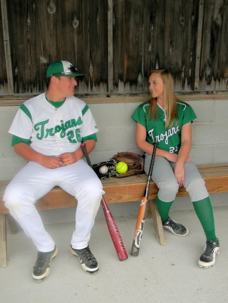 Softball/Baseball prom in dress with sister, friend, brother, dad, or date