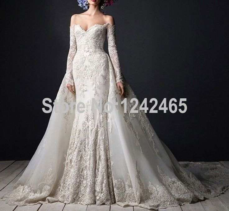 Find More Wedding Dresses Information About Mermaid Sweetheart Long Sleeve Muslim Dress Off Shoulder Detachable Train Arabic Gowns With