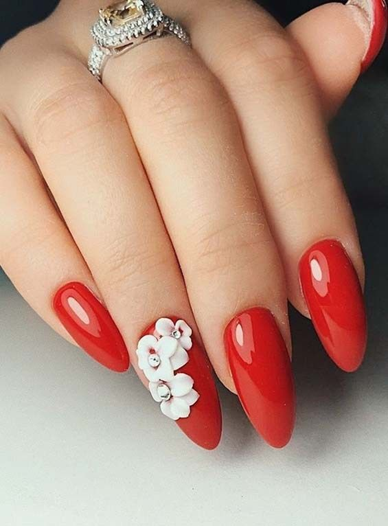 Cutest Long Red Nail Art Designs For Every Woman In 2018 Red Nails Lace Nails Lace Nail Design