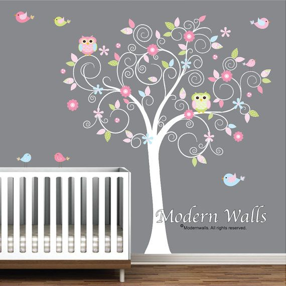 Children Wall Decals For Nursery- Tree with Flowers Owls Birds