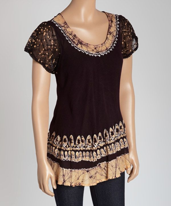Look At This Chocolate Batik Flutter-Sleeve Top On #zulily