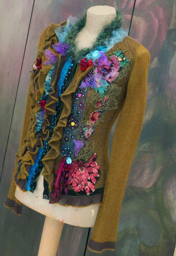 Forest path cardi ornate wearable art bohemian romantic