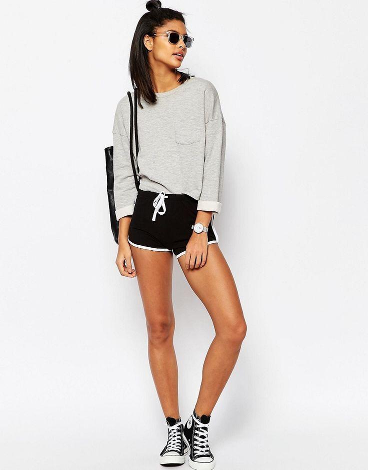 Image 1 ofASOS Basic Cotton Shorts with Contrast Binding