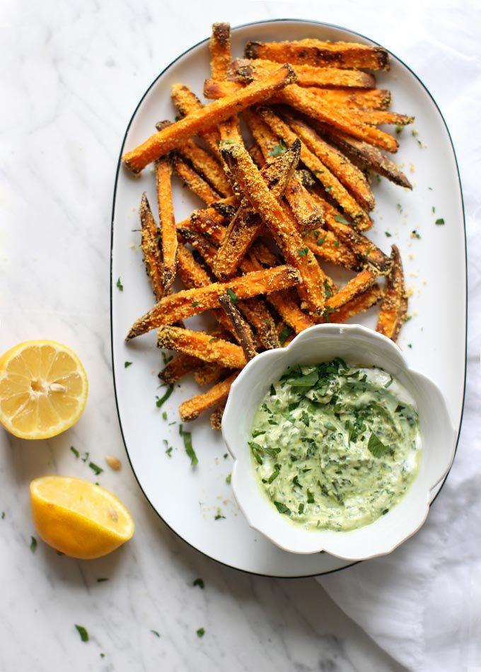 Crispy corn meal sweet potato fries | my new roots