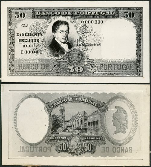 Banco de Portugal, obverse and reverse archival photographs for 20 and 50 escudos, 1929, black and white, first with Albuquerque at left, second with Carneiro at centre