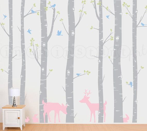 Birch Trees, Birch Forest, Birch Trees Vinyl, Birch Tree Wall Decal with Deer and Bunnies for Birch Nursery, Kids or Childrens Room 011