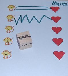 Great pre-writing activity. Roll the DIY die and draw the pattern from left to right to connect stickers.