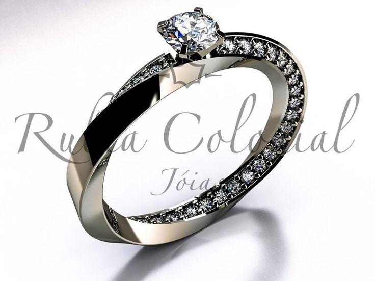 Ouro branco 18k / 750 O peso da peça varia de acordo com o tamanho do diamante escolhido
