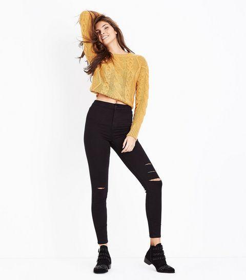 47d00ab52e9239 Black Super High Waist Super Skinny Ripped Knee Hallie Jeans | New Look