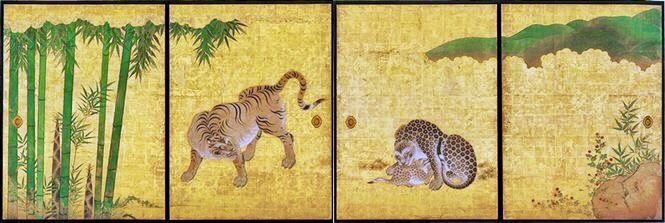 Bamboo Grove, Leopards and Tiger. Set of four fusuma (East side of Ichi-no-ma, the Primary room, Genkan). Kano _____?Nagoya Castle. Hommaru Palace. Japan.