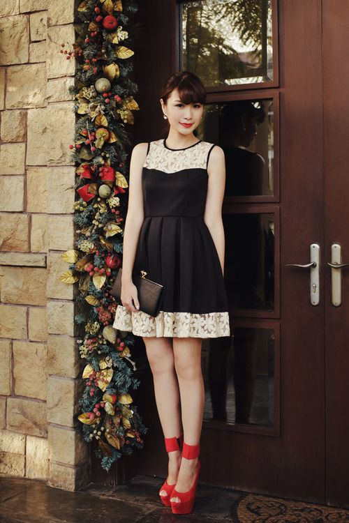 Sherri, in beautiful black, bling party dress with red shoes.  Ready for a night  out on the town...