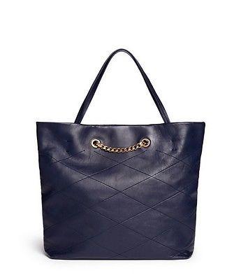 auth LANVIN Paris blue medium Sugar lambskin shopper tote bag - NWT
