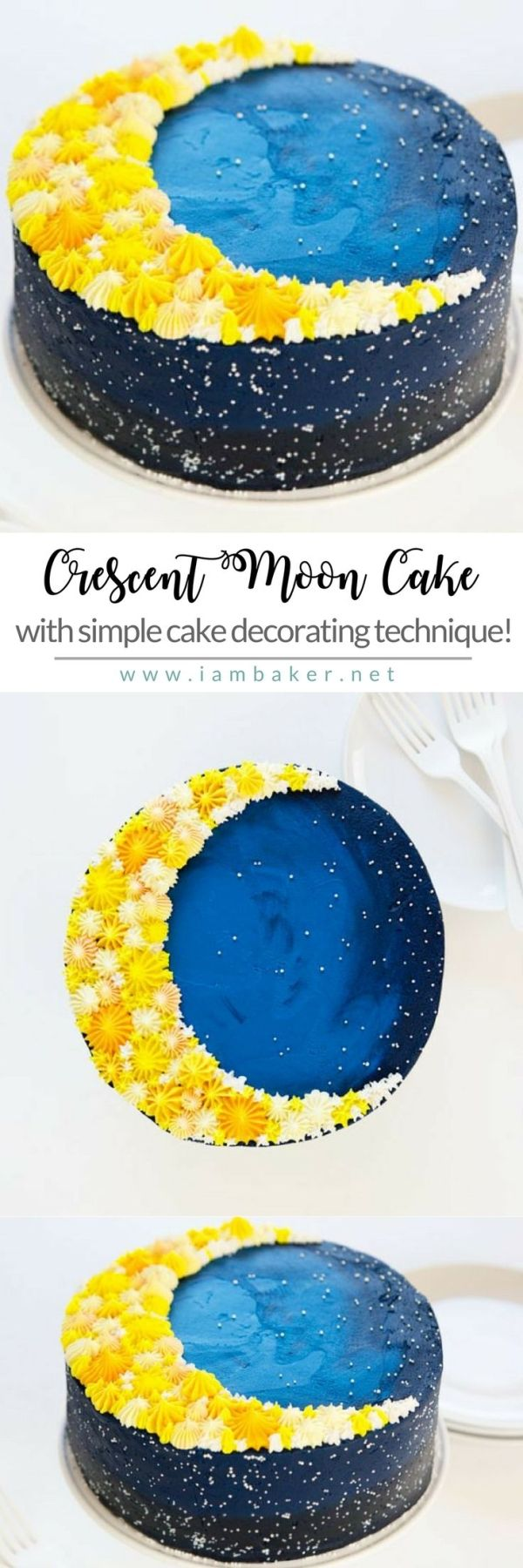 Here's a step by step on how to bake this easy cake recipe with a simple decorating technique- Crescent Moon Cake! All you need are some yellow and blue buttercream frosting to create awesome cake design! Don't forget to check our website for more easy dessert recipes by @iambaker #iambaker #iambakerdessert #iambakercake #cakedecorating by leigh