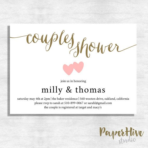 couples wedding shower invitation and thank you card set