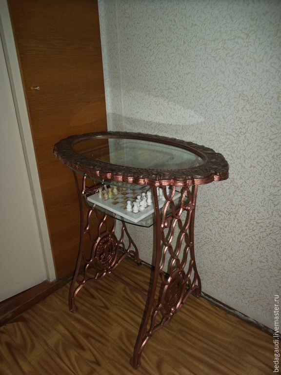 """Купить Стол игральный """"Реинкарнация Зингер"""" - разноцветный, столик, Стол журнальный, шахматный столик"""