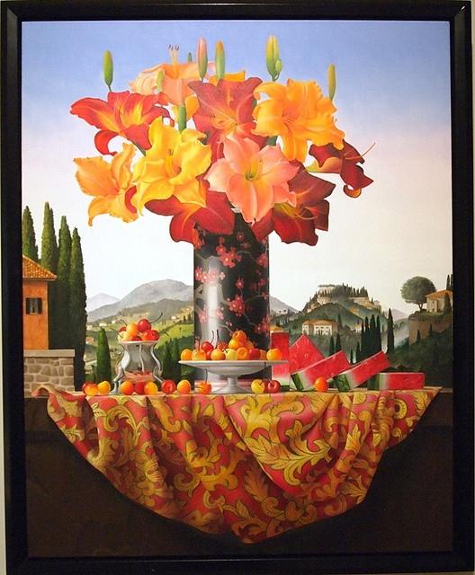 """""""Castelnuovo di Garfagnana: Still Life with Day Lillies and Watermelon"""" - James Aponovich, 2004"""