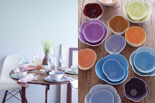 pastel spring table #camillestyles #purple: Dietlind Wolfe, Color Bowls, Flowershaped Bowls, Entertaining Table, Colors Rule, Pastel Colored Table Toppers