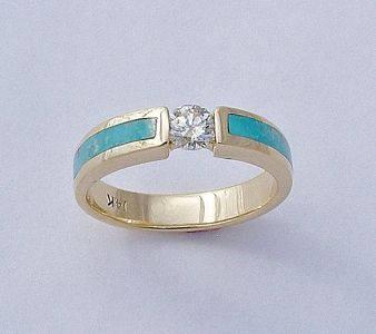 Turquoise and Diamond Engagement Ring
