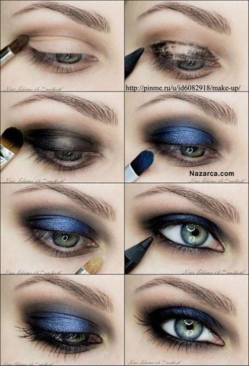 Dunkelblaues Fernaugen-Make-up mit-wie-gemacht   – benim evim