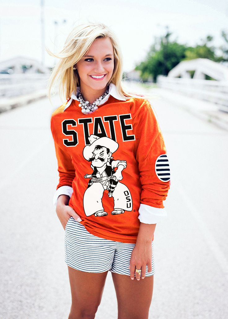 OKLAHOMA STATE ELBOW PATCH TEE