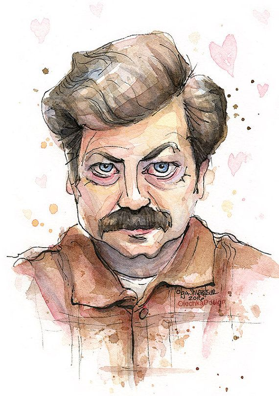 Ron Swanson Love Portrait Valentine Art Print by OlechkaDesign