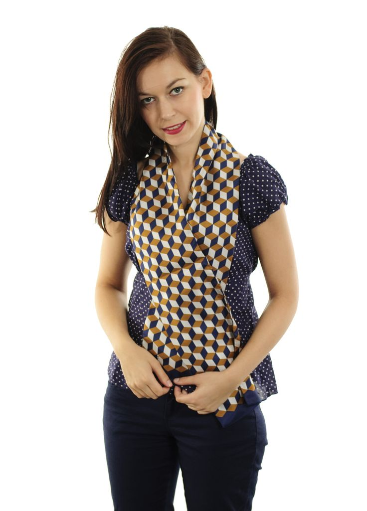 Silk long scarf with Art Deco pattern.