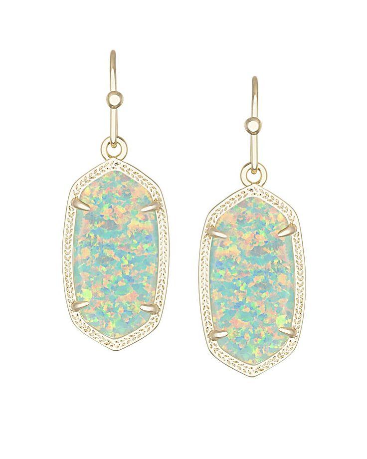 Dani Earrings in Aqua Kyocera Opal - Kendra Scott Jewelry.