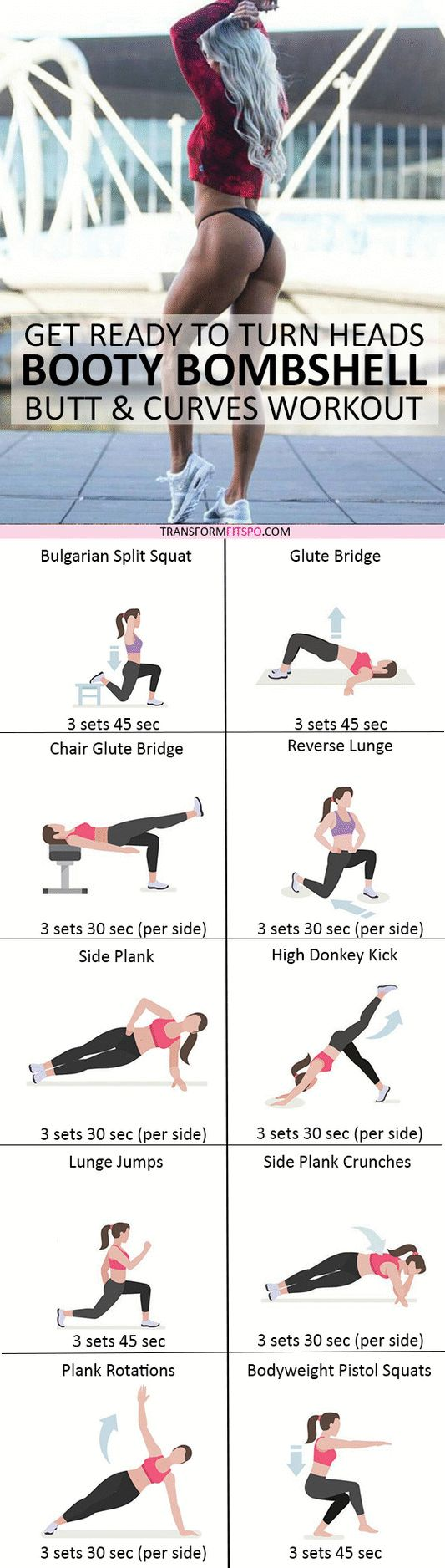 #womensworkout #workout #femalefitness Repin and share if this workout gave you a bombshell booty! Click the pin for the full workout.